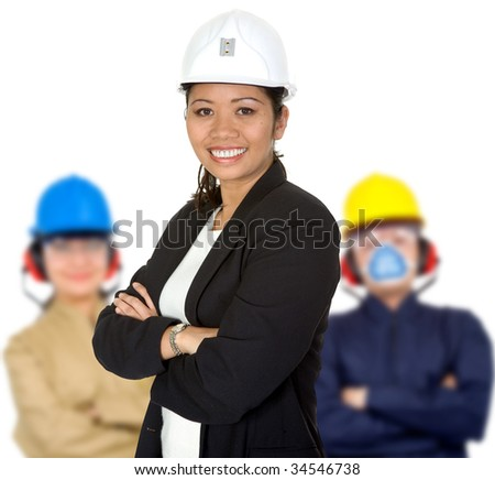 Group of engineers with helmets isolated over white - stock photo