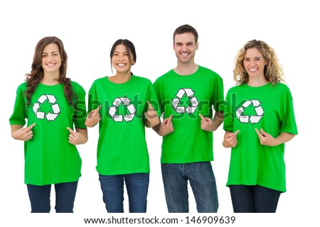 Group of environmental activists pointing their tshirt on white background - stock photo
