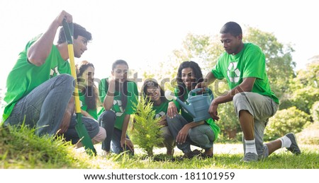 Group of environmentalists planting together in park - stock photo