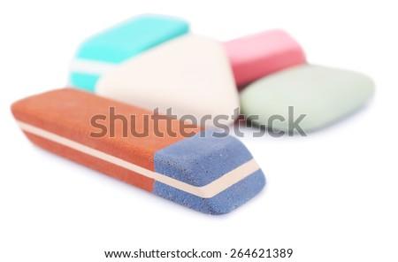 Group of erasers, closeup - stock photo
