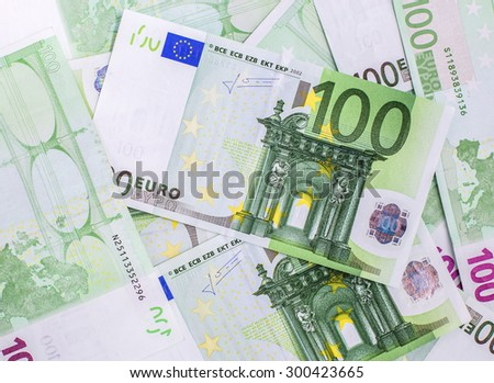 group of 100 euro banknotes - stock photo