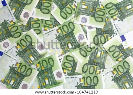 group of 100 euro notes - stock photo