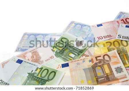 group of  European banknotes with white background - stock photo