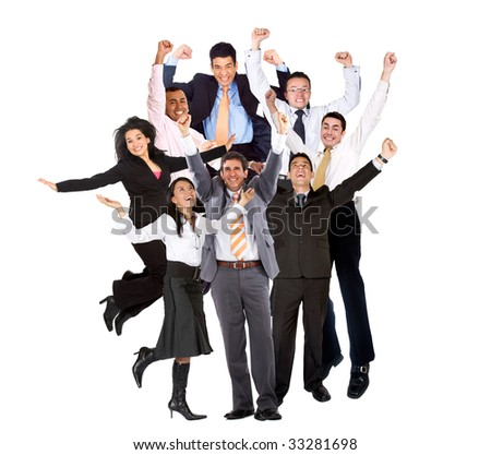 Group of excited business people isolated over white