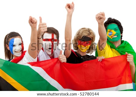 Group of excited football fans with painted faces isolated over a white background - stock photo