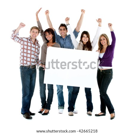 Group of excited friends holding a banner isolated on white - stock photo