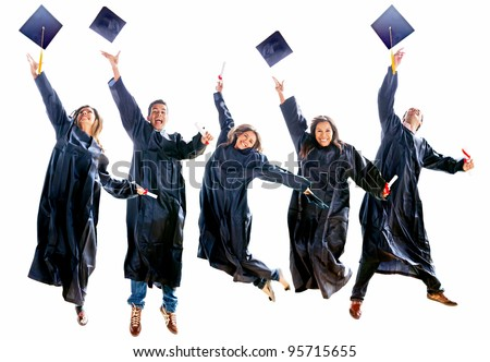 Group of excited people jumping in their gradutation throwing hats - stock photo