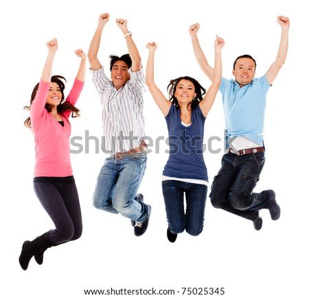 Group of excited people jumping - isolated over white - stock photo