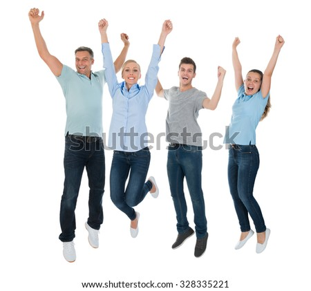 Group Of Excited People Jumping Over White Background