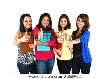 Group of excited people smiling and looking at camera with hands up celebrating success isolated on white background. - stock photo