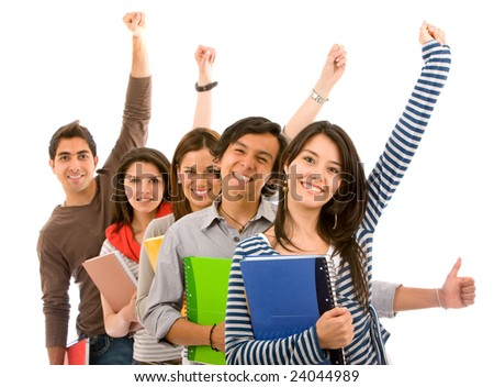 Group of excited students isolated over a white background