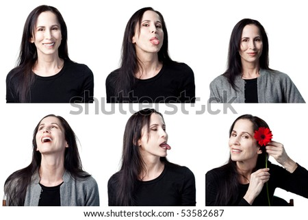 Group of facial expressions from an attractive actress - stock photo