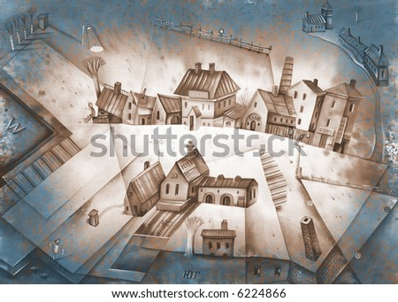 Group of farmsteads. Sepia version. Illustration by Eugene Ivanov. - stock photo