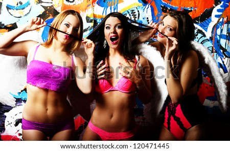 Group of fashionable girls in underwear - stock photo