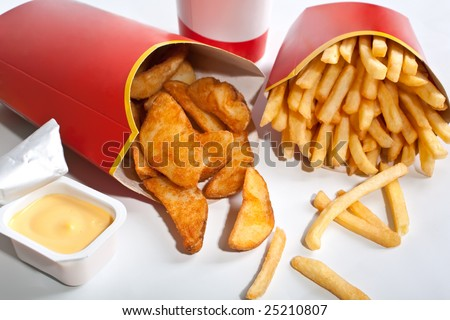 group of fast food with fries - stock photo