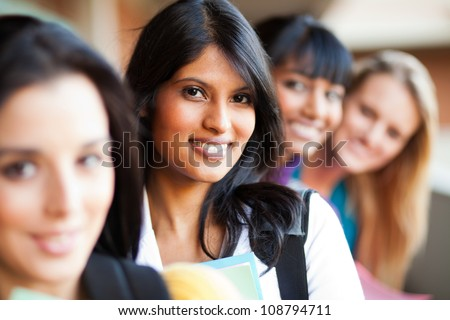 group of female college girls closeup portrait - stock photo