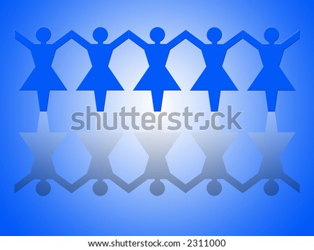 Group of female paper chain representing teamwork (hands up). - stock photo