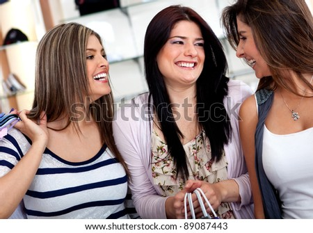 Group of female shoppers at a shopping center - stock photo