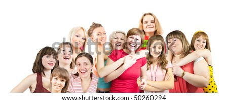 Group of  female students together over white - stock photo