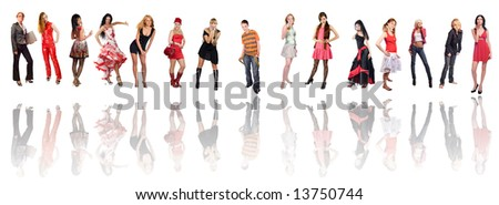 Group of fifteen different dressed women isolated on white - stock photo