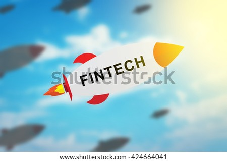 group of fintech or financial technology flat design rocket with blurred background and soft light effect - stock photo
