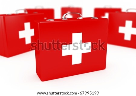 Group of first aid kits. Very shallow DOF.