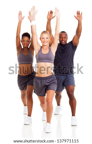 group of fitness people exercising isolated on white background - stock photo