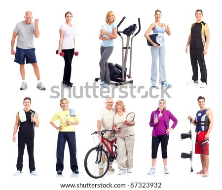 Group of fitness people. Health and sport. Isolated on white background. - stock photo