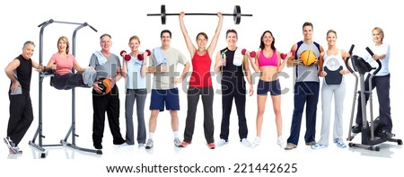 Group of fitness people isolated on white background - stock photo