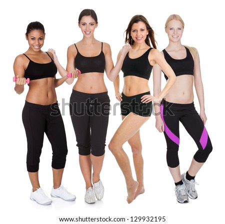 Group of fitness women. Isolated on white - stock photo