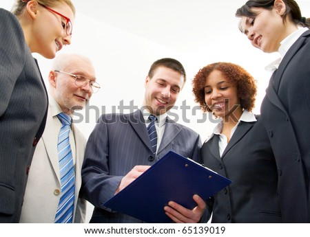 Group of five business people - stock photo