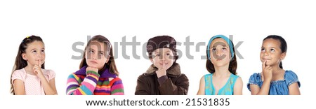 Group of five children thinking a over white background