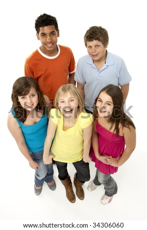 Group Of Five Young Children In Studio - stock photo