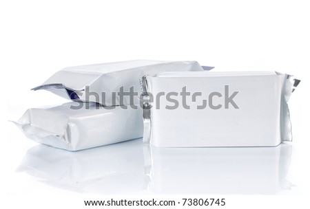 group of food pack, isolated over white background - stock photo