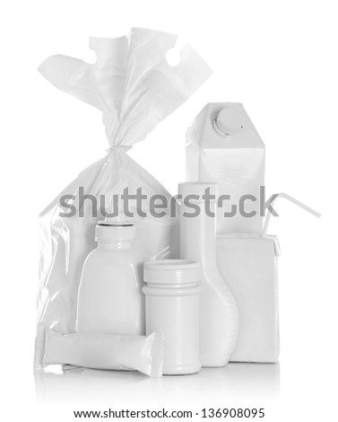 Group of food product container Isolated over white background - stock photo