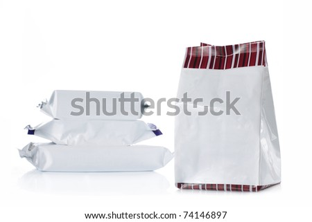 group of food product pack over white background - stock photo