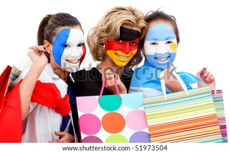 Group of football fans holding shopping bags with their faces painted - Isolated over white - stock photo