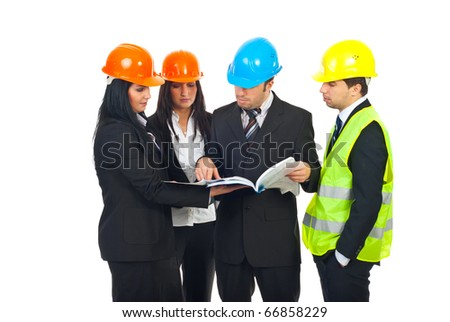 Group of four constructor engineers team examine their blueprints and having discussion isolated on white background