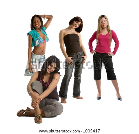 Group of four girlfriends - stock photo