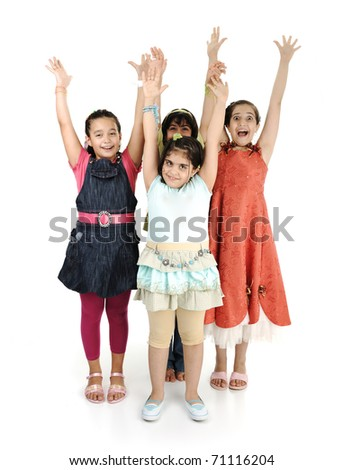 Group of four girls together on white background, rising hands up - stock photo
