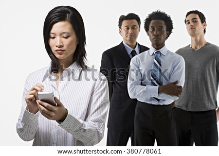 Group of four office workers - stock photo