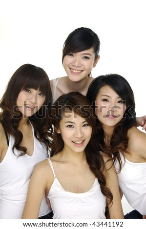 Group of four sexy, beautiful young happy women