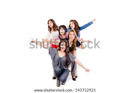 Group of four sexy, beautiful young happy women. Isolated on white - stock photo