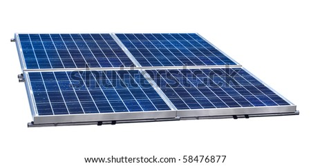 Group of four solar panels on white background isolated - stock photo
