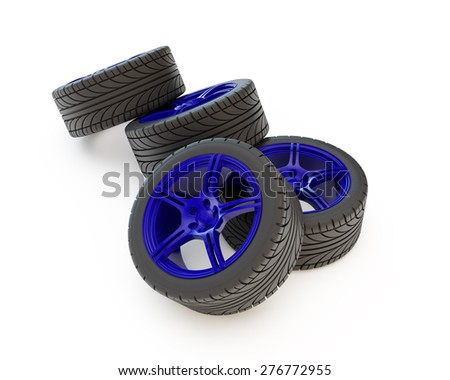group of four wheels on blue rims - stock photo