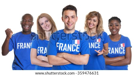 Group of french sport fans