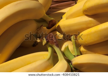 Group of fresh bananas in a basket - stock photo