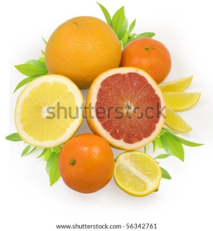 group of fresh citrus fruits isolated on white with clipping path