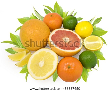 group of fresh citrus fruits with leaves isolated on white with clipping path