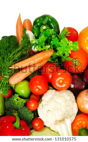 Group of fresh different vegetables - stock photo
